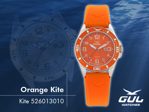 Orange face with orange strap. Hardened mineral glass, Size 35 mm, Stainless steel front and titanium back case, Waterproof 10 ATM - 100 m, Miyota quartz movement.