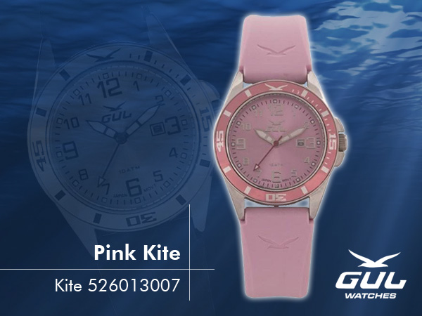 Pink face with pink strap. Hardened mineral glass, Size 35 mm, Stainless steel front and titanium back case, Waterproof 10 ATM - 100 m, Miyota quartz movement.