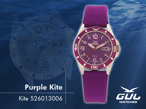 Purple face with purple strap. Hardened mineral glass, Size 35 mm, Stainless steel front and titanium back case, Waterproof 10 ATM - 100 m, Miyota quartz movement.