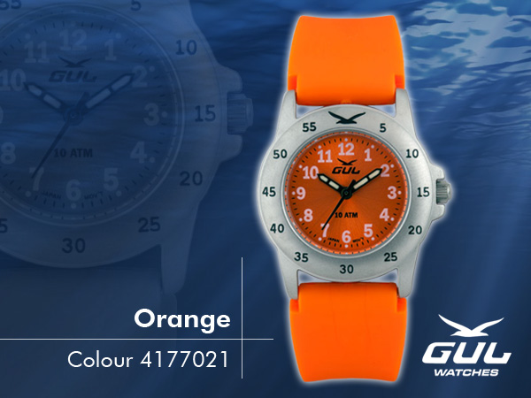 Orange face with orange silicone strap. Hardened mineral glass, Size 28 mm, Stainless steel front and titanium back case, Waterproof 10 ATM - 100 m, Miyota quartz movement.