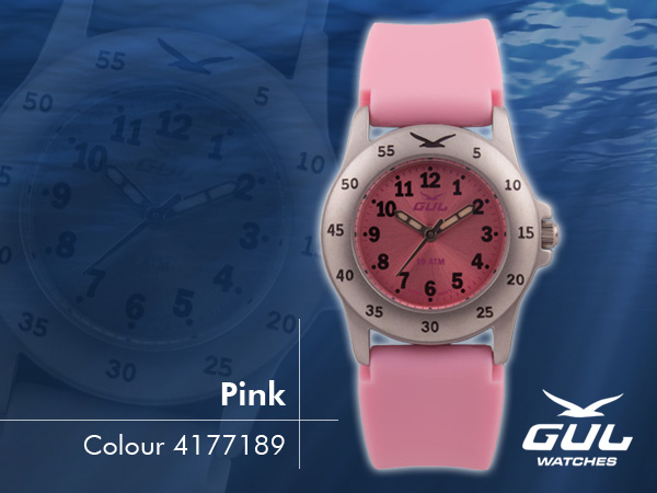 Pink face with pink silicone strap. Hardened mineral glass, Size 28 mm, Stainless steel front and titanium back case, Waterproof 10 ATM - 100 m, Miyota quartz movement.
