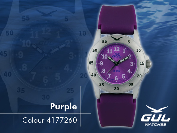 Purple face with purple silicone strap. Hardened mineral glass, Size 28 mm, Stainless steel front and titanium back case, Waterproof 10 ATM - 100 m, Miyota quartz movement.