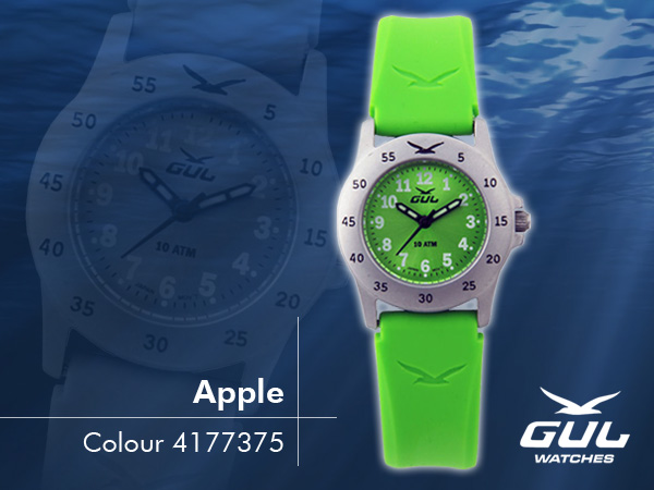 Green face with green silicone strap. Hardened mineral glass, Size 28 mm, Stainless steel front and titanium back case, Waterproof 10 ATM - 100 m, Miyota quartz movement.