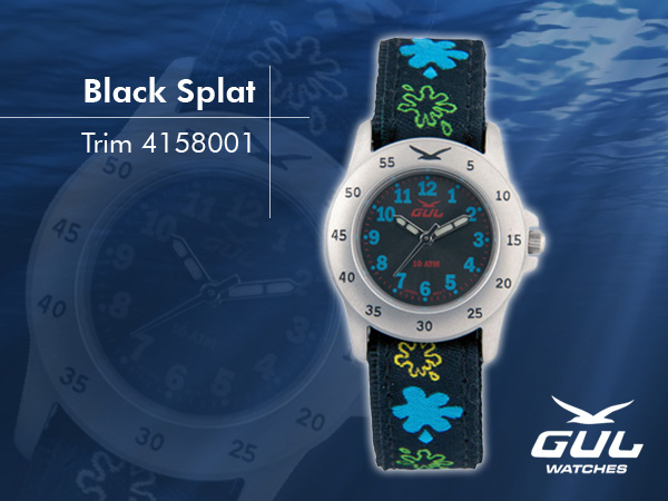 Black face with black/blue splat trim strap. Hardened mineral glass, Size 28 mm, Stainless steel front and titanium back case, Waterproof 10 ATM - 100 m, Miyota quartz movement.