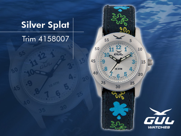 Silver face with black/blue splat trim strap. Hardened mineral glass, Size 28 mm, Stainless steel front and titanium back case, Waterproof 10 ATM - 100 m, Miyota quartz movement.