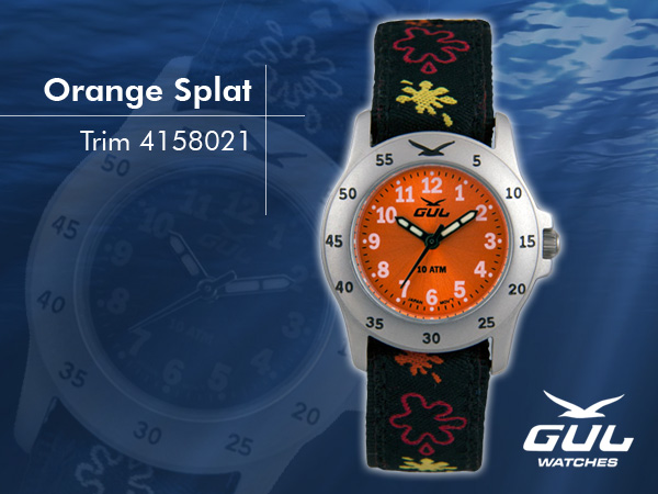 Orange face with black/orange splat trim strap. Hardened mineral glass, Size 28 mm, Stainless steel front and titanium back case, Waterproof 10 ATM - 100 m, Miyota quartz movement.