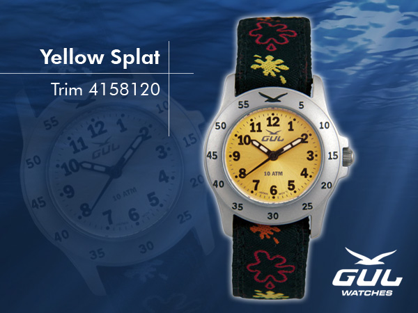 Yellow face with black/yellow splat trim strap. Hardened mineral glass, Size 28 mm, Stainless steel front and titanium back case, Waterproof 10 ATM - 100 m, Miyota quartz movement.