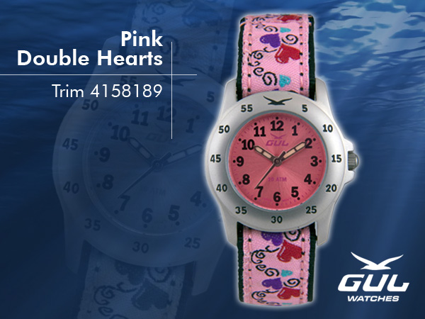 Pink face with pink baby hearts trim strap. Hardened mineral glass, Size 28 mm, Stainless steel front and titanium back case, Waterproof 10 ATM - 100 m, Miyota quartz movement.