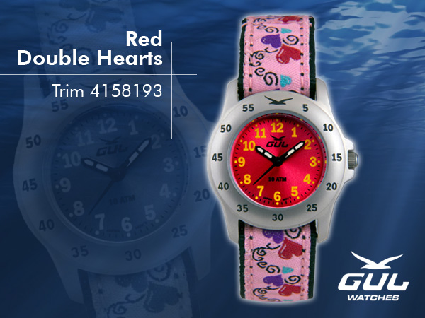 Red face with pink baby hearts trim strap. Hardened mineral glass, Size 28 mm, Stainless steel front and titanium back case, Waterproof 10 ATM - 100 m, Miyota quartz movement.