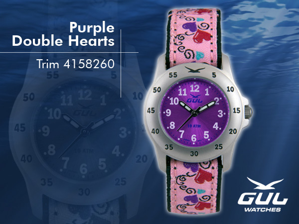 Purple face with pink baby hearts trim strap. Hardened mineral glass, Size 28 mm, Stainless steel front and titanium back case, Waterproof 10 ATM - 100 m, Miyota quartz movement.