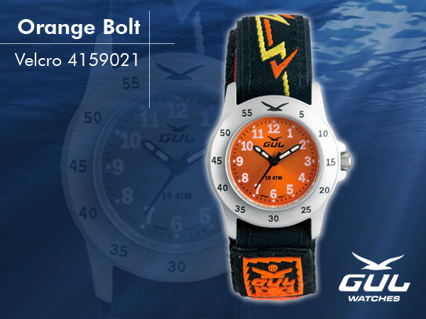 Orange face with orange/yellow bolt velcro strap. Hardened mineral glass, Size 28 mm, Stainless steel front and titanium back case, Waterproof 10 ATM - 100 m, Miyota quartz movement.