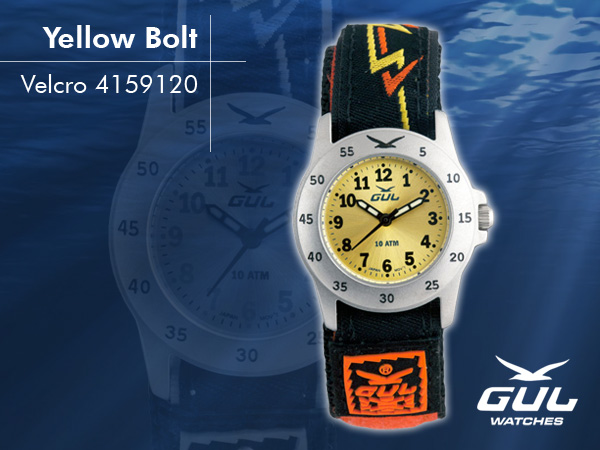 Yellow face with orange/yellow bolt velcro strap. Hardened mineral glass, Size 28 mm, Stainless steel front and titanium back case, Waterproof 10 ATM - 100 m, Miyota quartz movement.
