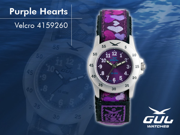 Purple face with purple/lilac heart velcro strap. Hardened mineral glass, Size 28 mm, Stainless steel front and titanium back case, Waterproof 10 ATM - 100 m, Miyota quartz movement.
