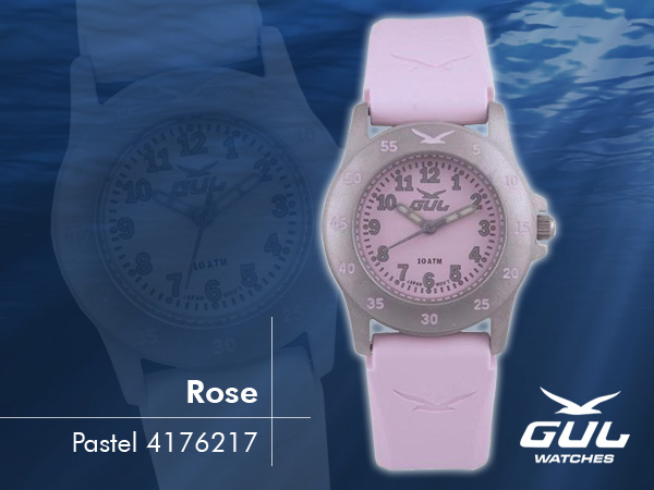 Pastel pink face with pink silicone strap. Hardened mineral glass, Size 28 mm, Stainless steel front and titanium back case, Waterproof 10 ATM - 100 m, Miyota quartz movement.
