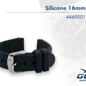 16mm Black Silicone Strap. The highest quality in every detail. Additional advantages are that the silicone band doe not attract dirt, it is easy to clean and it keeps its colour.