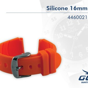 16mm Orange Silicone Strap.  Highest quality in every detail. Additional advantages are that the silicone band doe not attract dirt, it is easy to clean and it keeps its colour.