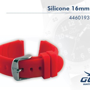 The Red Silcione Strap. The highest quality in every detail. Additional advantages are that the silicone band doe not attract dirt, it is easy to clean and it keeps its colour.