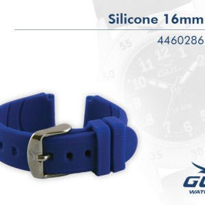 16mm Blue Silicone Strap Highest quality in every detail. Additional advantages are that the silicone band doe not attract dirt, it is easy to clean and it keeps its colour.
